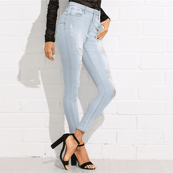 Mid Waist Crop Pocket Jeans | Bleach Wash Denim Jeans-jeans-Vinny's Digital Emporium
