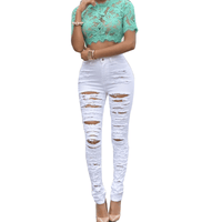 Slim High Waist Jeans | Ripped Fashion Jeans For Women-jeans-Vinny's Digital Emporium