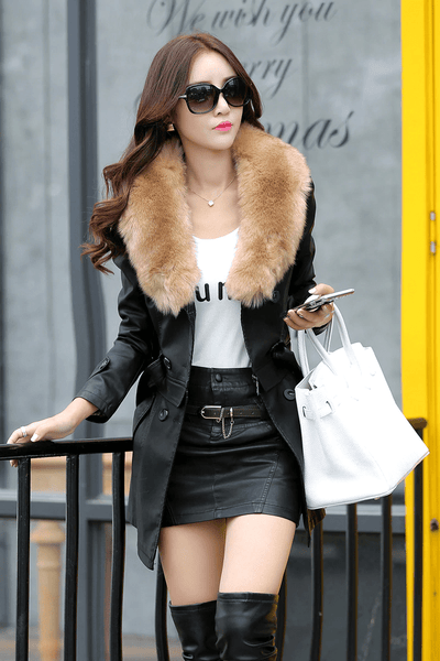 Faux Leather Jacket With Fur For Women-faux leather coat-Vinny's Digital Emporium