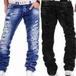Men's Jeans Casual Distressed Straight Stylish Ripped Denim Pants Trousers-jeans-Vinny's Digital Emporium