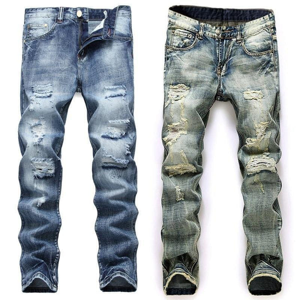 Mens Jeans Distressed Denim Pants Biker Fashion Designer Ripped Distressed-jeans-Vinny's Digital Emporium