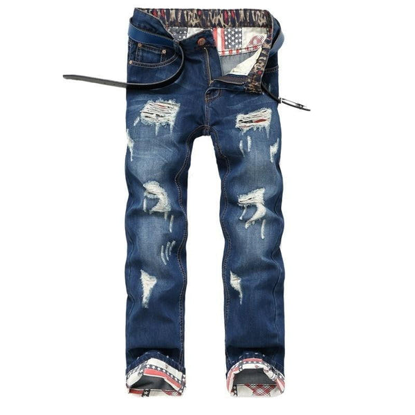 Mens Jeans Ripped Biker Pants Denim Blue Slim Motorcycle Ripped-jeans-Vinny's Digital Emporium