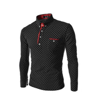 Mens Polo Shirt Slim Fit Long Sleeved Tide Rugby England Fashion Wave Point-polo shirt-Vinny's Digital Emporium