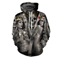 Metal Skulls Bride Groom Hooded Hoodies Sweatshirts Men + Women-Hoodies & Sweatshirts-Vinny's Digital Emporium