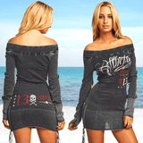 Off Shoulder Lace Up Long Sleeve Sweater Mini Dress Hectic Skull Blouse-dress-Vinny's Digital Emporium