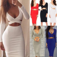 Sexy Deep V-neck Bandage Pencil Dress | Long Sleeve Bodycon Dress-dress-Vinny's Digital Emporium