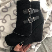 Wedge Heel Ankle Boots High Heel Shoes Casual Style Zipper Fashion Booties-boots-Vinny's Digital Emporium