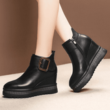 Wedge Heel Ankle Boots | Genuine Leather Platform Boots-wedge heels ankle boots-Vinny's Digital Emporium