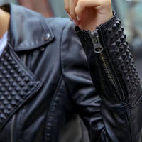 Faux Leather Jacket | Studded Faux Leather Biker Jacket-faux leather jacket-Vinny's Digital Emporium