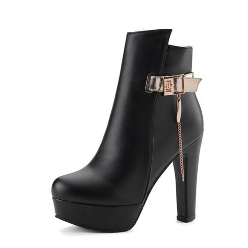 Women Ankle Boots High Heels Platform Shoes Buckle Motorcycle Booties Chic Punk-shoes-Vinny's Digital Emporium