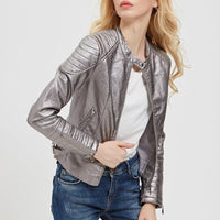 Faux Leather Motorcycle Jacket | Faux Leather Biker Jacket-faux leather jacket-Vinny's Digital Emporium