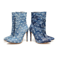 Women Ankle Boots Booties Stilettos High Heels Pumps Shoes Denim Pointed Toe-boots-Vinny's Digital Emporium