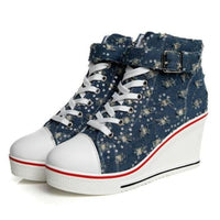 Denim Canvas Wedge High Heel Sneakers-wedge heel sneakers-Vinny's Digital Emporium
