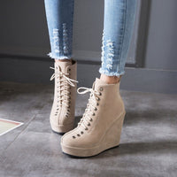 Lace Up Ankle Boots | Vintage High Heel Wedge Boots-wedge heel boots-Vinny's Digital Emporium