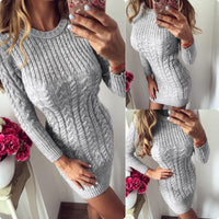 Bodycon Sweater Dress | Long Sleeve Knitted Mini Dress-sweater dress-Vinny's Digital Emporium