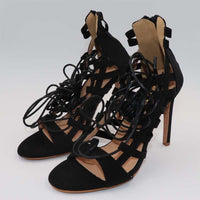 Thin High Heels Shoes Women's Pumps Lace Up Ankle Strap Open Toe Summer Sandals-shoes-Vinny's Digital Emporium