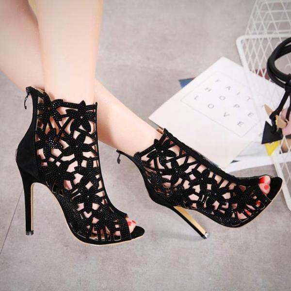 High Heel Shoes Cut Out  Summer Fashion Zipper Peep Toe Women's Sandals Pumps