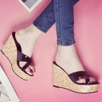 High Wedge Heel Sandals | High Heel Slipper Sandals-wedge heel sandals-Vinny's Digital Emporium