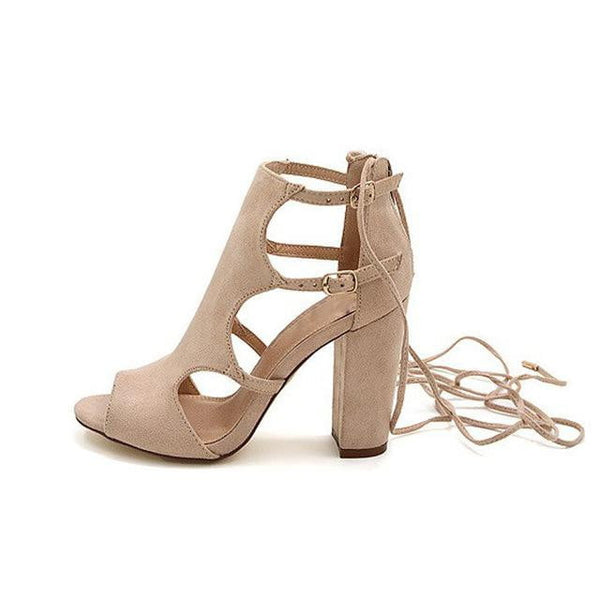 Women's Gladiator High Heels Sandals Peep Toe Shoes Chunky Lace Up Ankle Strap-shoes-Vinny's Digital Emporium