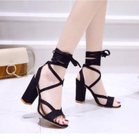 Women's Thick Heel Cross-tied Ankle Lace Up Sandals Summer Shoes Fashion Pumps-shoes-Vinny's Digital Emporium