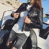 Moto Pleated Faux Leather Jacket-faux leather jacket-Vinny's Digital Emporium