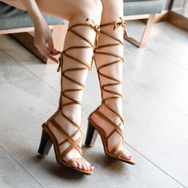 Cross tied Knee High Sandals Boots High Square Heel Summer Fashion Pumps Shoes-shoes-Vinny's Digital Emporium
