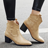 Western High Heel Ankle Boots | Retro Ankle Boots-ankle boots-Vinny's Digital Emporium