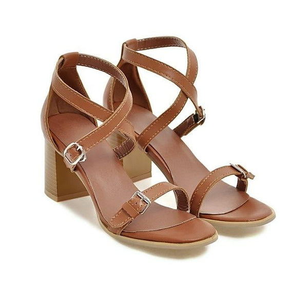 Cross Tied High Heel Ankle Sandals-ankle sandals-Vinny's Digital Emporium