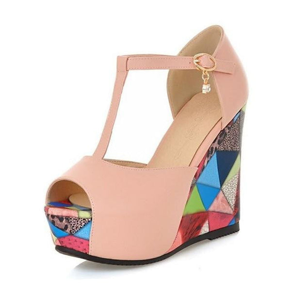 Peep Toe Wedge High Heel Sandals For Women-wedge heel sandals-Vinny's Digital Emporium