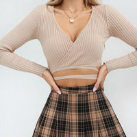 Long Sleeve Solid Bandage Crop Tops | V Neck Short Blouse Shirt-crop top-Vinny's Digital Emporium