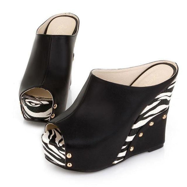 Zebra Wedge Heel Slippers Sandals | Platform Heel Sandals-wedge heel sandals-Vinny's Digital Emporium