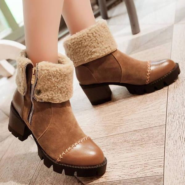 High Heel Ankle Boots | Platform Heel Snow Boots-ankle boots-Vinny's Digital Emporium