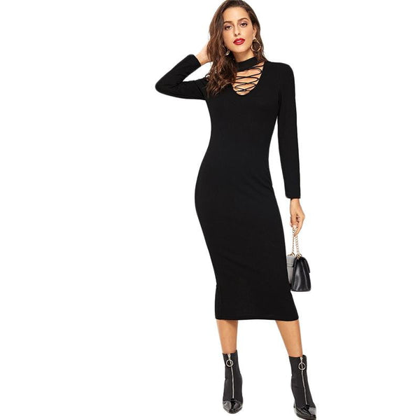 Crisscross Choker Neck Midi Dress | Long Sleeve Midi Dress-midi dress-Vinny's Digital Emporium