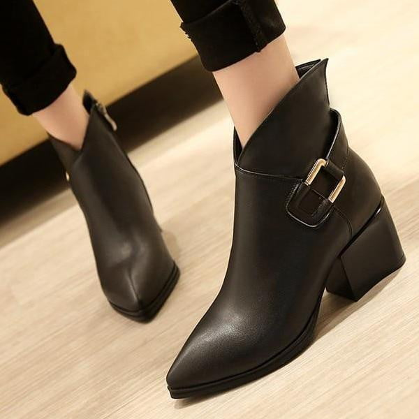 Genuine Leather High Heel Ankle Boots For Women-ankle boots-Vinny's Digital Emporium