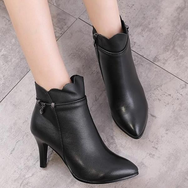 Genuine Leather Pointed Toe Boots | High Heel Boots-ankle boots-Vinny's Digital Emporium