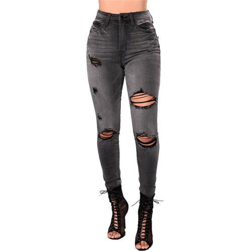 High Waist Jeans | Ripped Pencil Jeans For Women-jeans-Vinny's Digital Emporium
