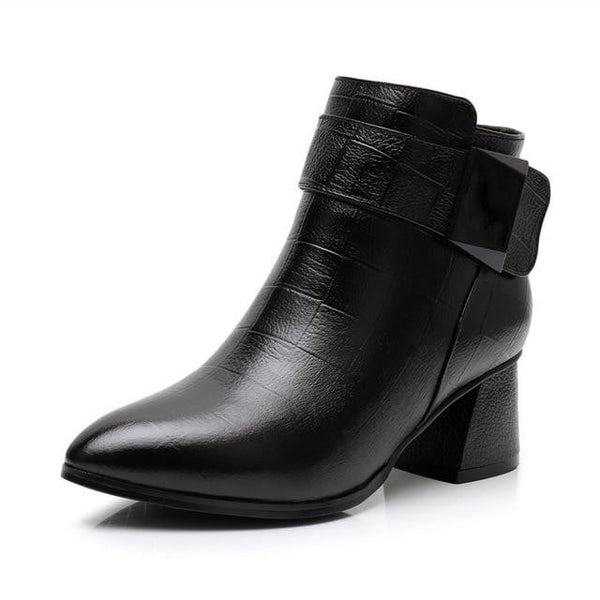 eca0e1f1b Genuine Leather High Heel Ankle Boots-ankle boots-Vinny's Digital Emporium
