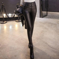 High Waist Faux Leather Pencil Pants For Women-leather pants-Vinny's Digital Emporium