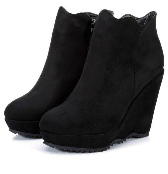 High Heel Platform Boots | Wedge Heel Ankle Boots-wedge heel boots-Vinny's Digital Emporium