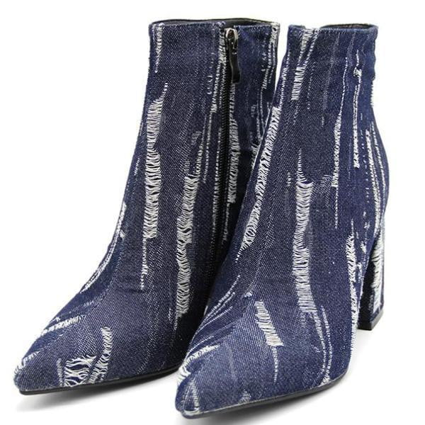 Denim Ankle Boots | High Heel Ankle Boots-ankle boots-Vinny's Digital Emporium