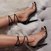 Clear High Heels Sandals With Mid-Calf Strap-ankle sandals-Vinny's Digital Emporium