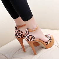 Leopard High Heel Sandals | Stiletto Heel Shoes-ankle sandals-Vinny's Digital Emporium