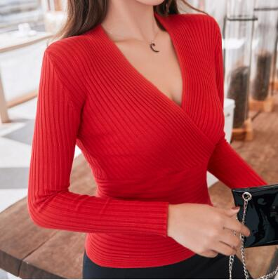 Sexy Deep V Neck Sweater For Women-sweater-Vinny's Digital Emporium