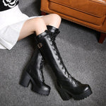 Knee High Combat Boots With Platform High Heel For Women