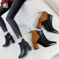 Pointed Toe High Heel Ankle Boots Thick Heel Shoes-ankle boots-Vinny's Digital Emporium