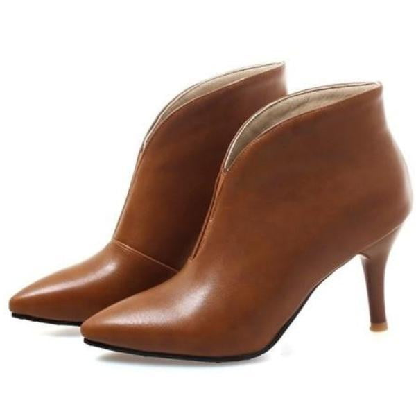 Thin High Heel Ankle Boots With Pointed Toe For Women-ankle boots-Vinny's Digital Emporium