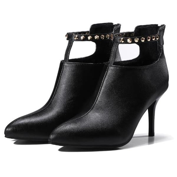 Pointed Toe High Heel Ankle Boots For Women-ankle boots-Vinny's Digital Emporium