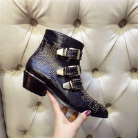 Susanna Studded Leather Ankle Booties With Low Square Heel-ankle booties-Vinny's Digital Emporium