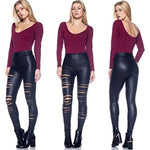 Ripped Faux Leather Leggings For Women-leather leggings-Vinny's Digital Emporium