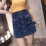 Pocket Button Denim Skirt | Above Knee Mini Skirt-mini skirt-Vinny's Digital Emporium
